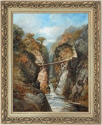 A Highland River Gorge Antique Oil Painting by Clarence Henry Roe (1850-1909)