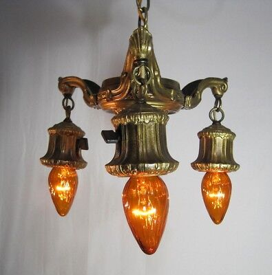 Chandelier Antique Victorian Ornate Restored/Rewired Gold Rare Pendent Sockets