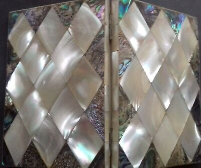 Antique Mother of Pearl and Abalone Concertina Card Case. Very good condition