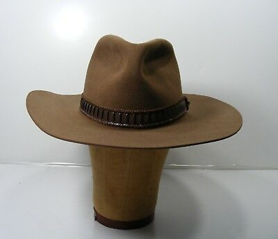 9d5c5672a8307 Vintage John B. Stetson 4X Beaver Hat Stampede Style Acorn color Leather  Band 7