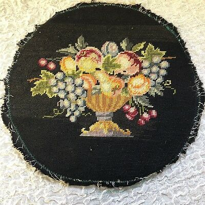 """Needlepoint Pillow Cover Black Fruit Bowl Round 13"""" Embroidered Wool Flaws Vtg"""