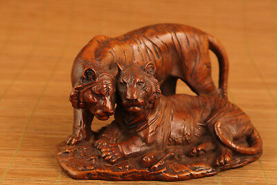 antique big boxwood hand carved tiger statue collectable ornament netsuke art