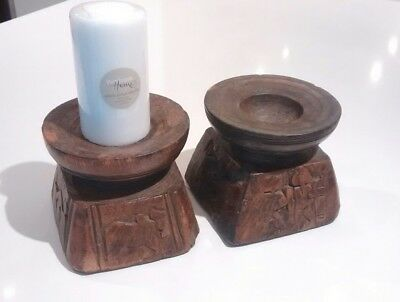 Rare Antique Vintage Indian HAND-CARVED Seeder tool PAIR Candle Holders Bohemian