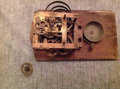 Antique Chiming Clock Movement for Spare Parts  or Repair 77x95mm Plates