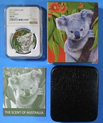 2011 Cook Islands Colorized Koala $5 Five Dollars 1oz .999 Silver Coin NGC MS69