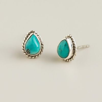 Vintage Turquoise Stud Drops Shape Silver Plated Ancient Retro Jewelry Earrings