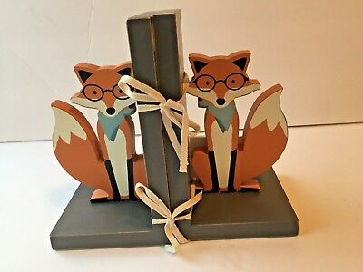 Primitives by Kathy Pair of Wooden Whimsical FOX with Glasses Bookends  NWT NEW