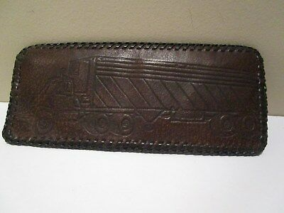Vintage Hand Tooled Leather TRACTOR TRAILER Wallet Bifold NWO Tags Brown