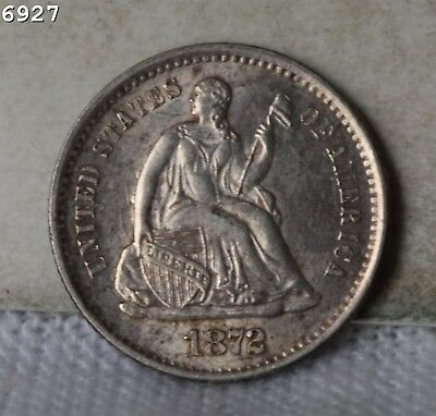 """1872-S """"Above Bow"""" Liberty Seated Half Dime """"AU+"""" *Free SH After 1st Item*"""