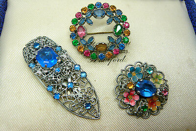 Vintage Jewellery Mixed Lot Of Czech Rhinestone Brooches Pins