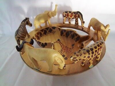 Africa Wood Bowl 6 Animals Displayed Circle Africa Map Designed Wooden Bowl