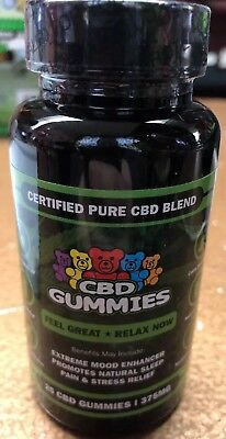 25count bottle 375 MG.CBD Gummies Natural Pain Relief * FAST SHIPPING *NON-GMO