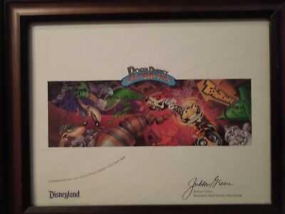 Disneyland Print Roger Rabbit Car Toon Spin & Toontown Framed Rare Animation New