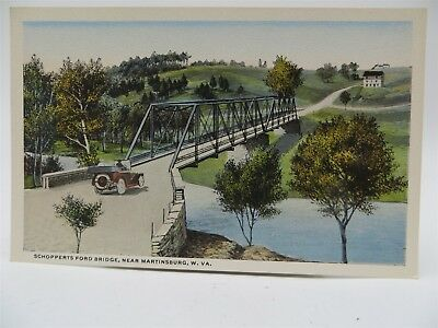 Vintage Early 1900's Postcard - Car on Schopperts Ford Bridge, Martinsburg, WV