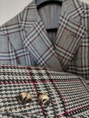CASHMERE Savile Row Chester Barrie Light Gray Tweed Sportcoat Red/Tan Plaid 42L