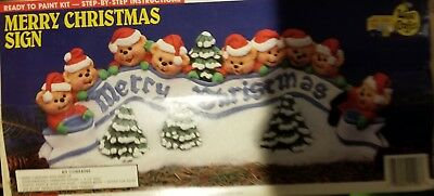 Wee Crafts Kit #21206 - Ready To Paint - MERRY CHRISTMAS SIGN BEARS (UnPainted)