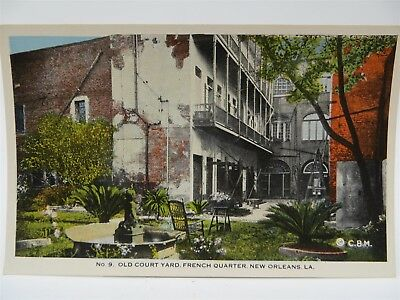 Vintage Early 1900's Postcard, Old Court Yard, French Quarter, New Orleans, LA