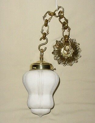 Deco Ceiling Lamp Light Fixture Complete Bronze Canopy Chain Opaline Glass Globe