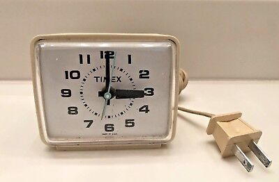 Vintage TIMEX USA Electric Alarm Clock Model #7369A Beige Mid Century