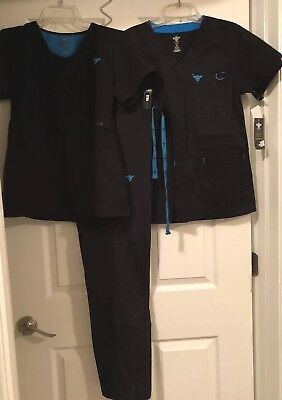 "Med Couture Scrub Set Small Beautiful Black/ Turq 2 ""V"" Neck Tops & Pants"