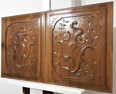 Pair Hand Carved Wood Panel Antique French Gothic Coat Of Arms Salvaged Carving