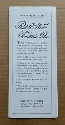 Paul E. Wirt Fountain Pens,Bloomsburg,Pa.,Color Sales Brochure,1932