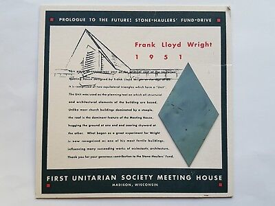 Fundraising ad for Frank Lloyd Wright Unitarian Church, with original roof piece
