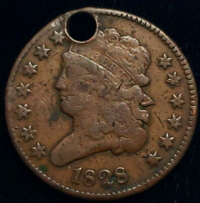 1828 US Classic Head Half Cent Copper 13 Stars Holed Collector Coin 8CHHC2820