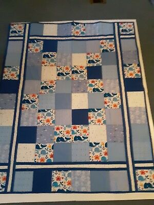 Baby Homemade Lap Size Quilt For Kids. Whales and crabs design