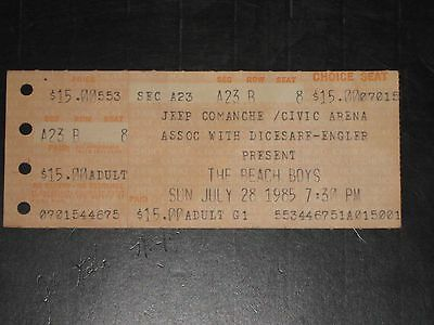 Beach Boys 1985 Ticket Stub***july 28, 1985 Pittsburgh Civic Arena**