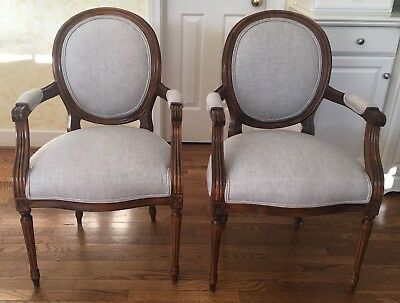 Pair of Century  French Chairs in Walnut Finish - Can Ship