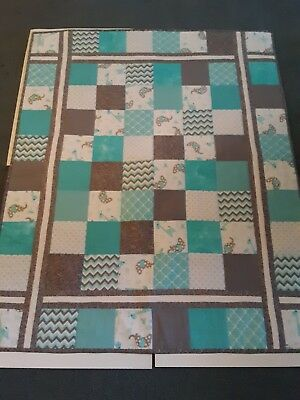 Baby Homemade Lap Size Quilt For Kids.giraffe and elephant teal color design