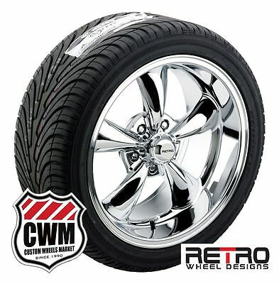 "17"" / 18"" inch Staggered Chrome Wheels Rims Tires for Chevy Bel Air 150 210"