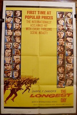 THE LONGEST DAY (1962) 27x41 Vintage One Sheet - All Star Cast - WWII!