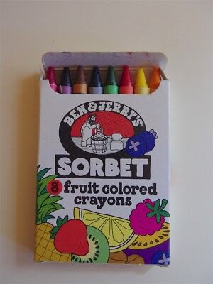 Vintage Ben and Jerry's Sorbet fruit colored crayons * Mint