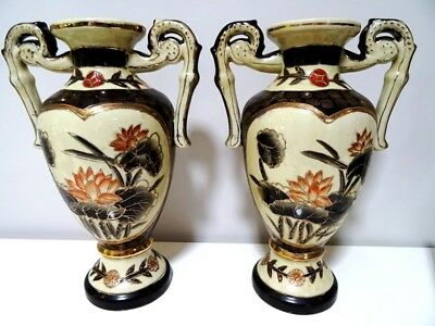 antique CHINESE VASES porcelain LOTUS LILY raised gold RED COIN MOTIF pair