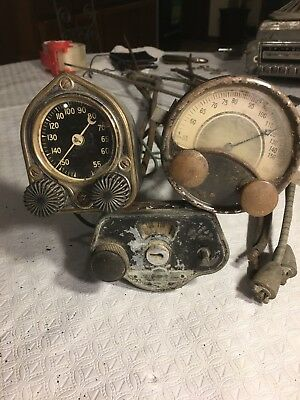 1920's 1930's antique car radio dials w/ 3 faceplates and 2 sets cables 5 total