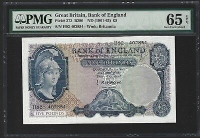 1961-63 Great Britain Bank of England 5 Pounds, PMG 65 EPQ GEM UNC, P-372 Lot 1
