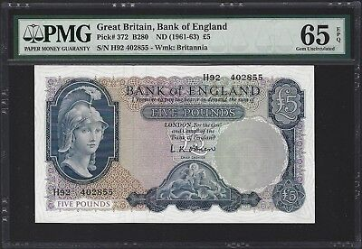 1961-63 Great Britain Bank of England 5 Pounds, PMG 65 EPQ GEM UNC, P-372 Lot 2