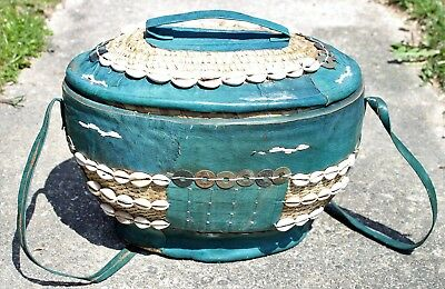 Large Nigerian African Hausa Reed & Teal Leather Basket w/Cowrie Shells & Coins