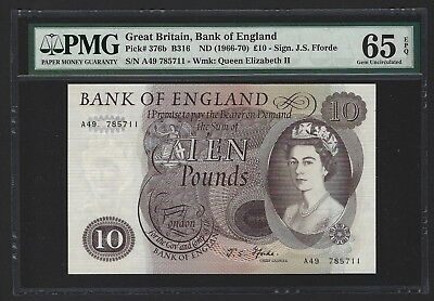 1966-70 Great Britain Bank of England 10 Pounds PMG 65 EPQ GEM UNC, P-376b Lot 2