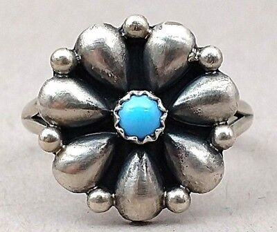 Southwestern Native American Running Bear Sterling Silver Turquoise Ring Size 9