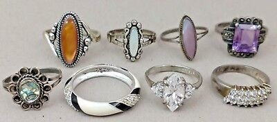 Southwestern Vintage Sterling Silver Rings Lot 8 Pieces All Usable Or For Resale