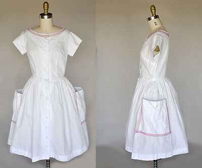Vintage VTG 50s 1950s White Cotton Dress Red Stitching Huge Pockets Buttons S