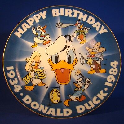 Happy 50th Birthday Donald Duck Collectors Plate 1934 to 1984!
