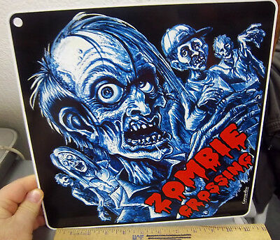 """Zombie Metal Crossing Sign Glow in the Dark 16 1//2/"""" x 16 1//2/""""  Made in USA #271"""
