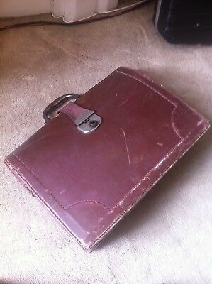 Vintage Case 50-60s,Leather 40cm-30-14cm,Papers Keeper Men's Used