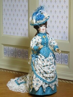 Lady Doll in Turquoise Floral Victorian Gown Artisan Dollhouse Miniature RAD-709