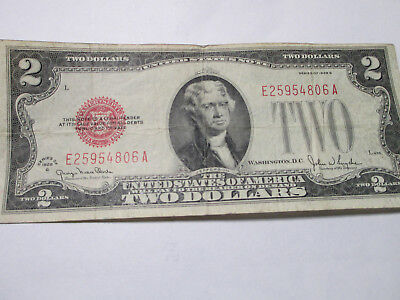 1928 G $2 Two Dollar Bill Red Seal E25954806A