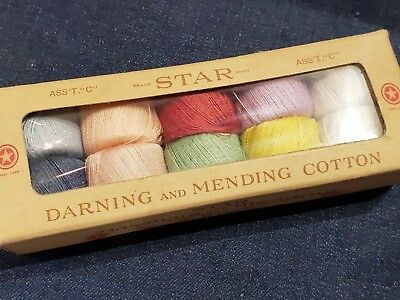 VINTAGE BOX of 10 STAR DARNING & MENDING THREAD COTTON, NEW OLD STOCK, SEWING